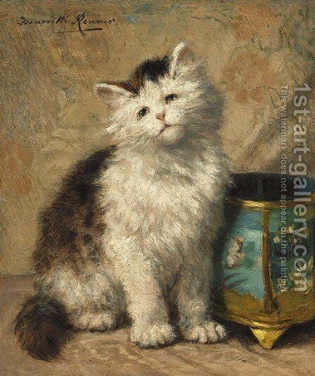 Kitten by a cloisonne jardiniere by Henriette Ronner-Knip - Reproduction Oil Painting