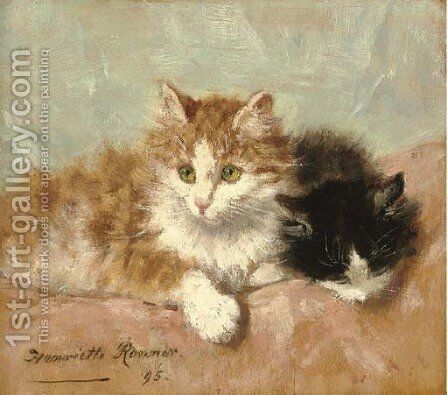 Resting kittens by Henriette Ronner-Knip - Reproduction Oil Painting