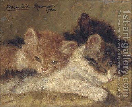 The sleeping kittens by Henriette Ronner-Knip - Reproduction Oil Painting