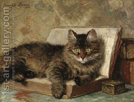 The wise cat by Henriette Ronner-Knip - Reproduction Oil Painting