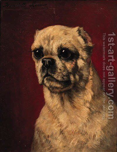 Portrait of a pug-dog by Henriette Ronner-Knip - Reproduction Oil Painting