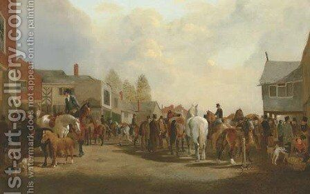 The Horsemarket at Ashby-de-la-Zouch by Henry Woollett - Reproduction Oil Painting