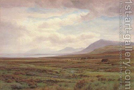 On the moors, Achill Island, Co. Mayo, Ireland by Henry Albert Hartland - Reproduction Oil Painting