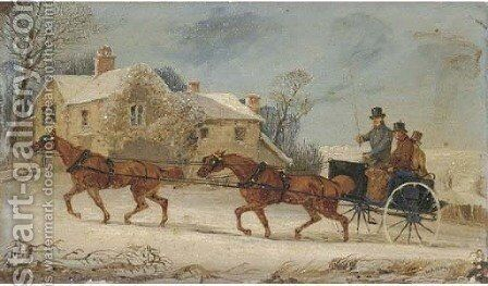 A horse and coach driving through the snow by Henry Thomas Alken - Reproduction Oil Painting