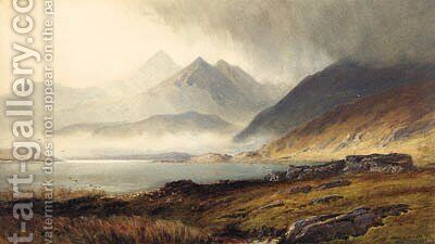 Loch and Broch and Hills in misty background by Henry Andrew Harper - Reproduction Oil Painting