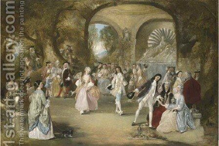 A fete champetre, with courtly figures dancing by Henry Andrews - Reproduction Oil Painting