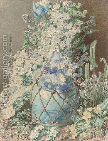 Gladioli, irises, sweet peas, apple blossom, primulas and other spring flowers in an oriental vase by Henry Anelay - Reproduction Oil Painting
