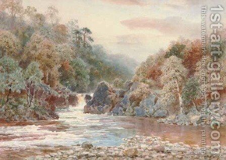 A serene fishing pool by Henry B. Wimbush - Reproduction Oil Painting