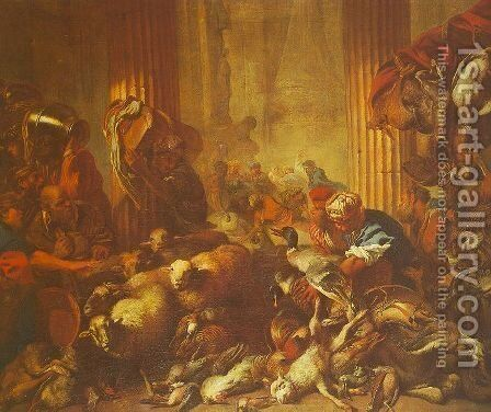 Christ Chasing the Moneylenders from the Temple by Giovanni Benedetto Castiglione - Reproduction Oil Painting