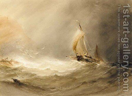 Shipping in stormy seas by Henry Barlow Carter - Reproduction Oil Painting