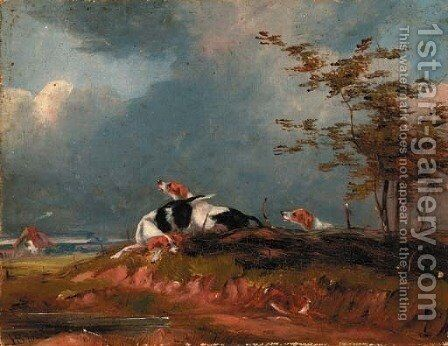 Hounds chasing a hare by Henry Barraud - Reproduction Oil Painting