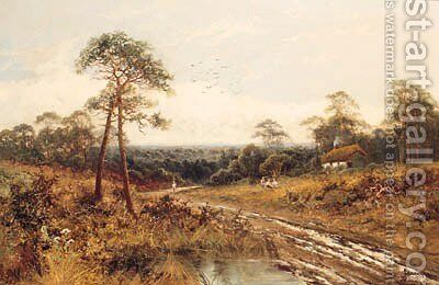 Figures Beside A Country Path, Near Lowendon, Surrey by Henry Bates Joel - Reproduction Oil Painting