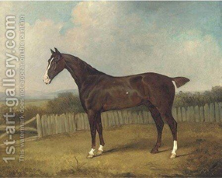 A dark brown horse in a landscape by Henry Bernard Chalon - Reproduction Oil Painting