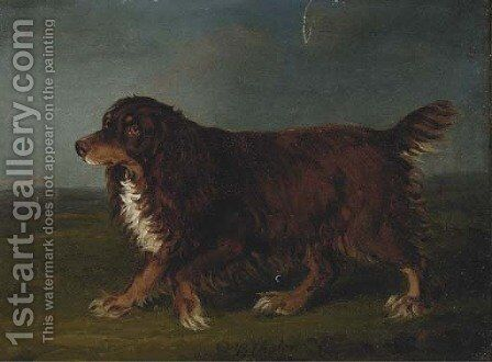 A spaniel in a landscape by Henry Bernard Chalon - Reproduction Oil Painting