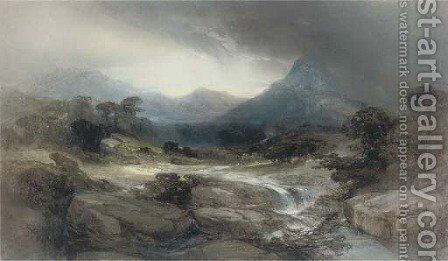 A mountain stream by Henry Bright - Reproduction Oil Painting