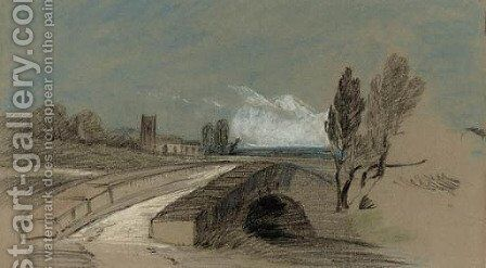 An extensive landscape with a stone bridge before a church by Henry Bright - Reproduction Oil Painting