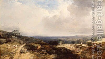 An extensive landscape with sheep in the foreground and cottages and a church in the middle distance by Henry Bright - Reproduction Oil Painting
