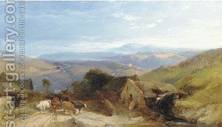 Scene in the Scottish Highlands, afternoon effect by Henry Bright - Reproduction Oil Painting