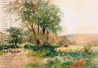 A shepherd driving sheep down a country lane with the harvesters beyond by Henry Charles Fox - Reproduction Oil Painting