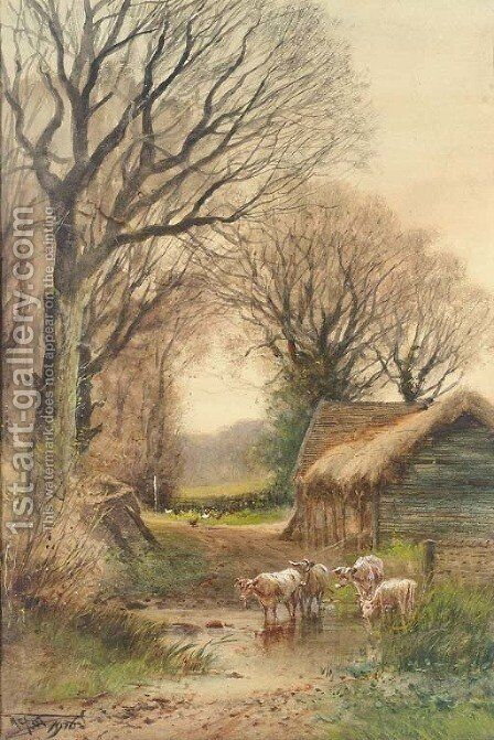 Cattle watering by a barn by Henry Charles Fox - Reproduction Oil Painting