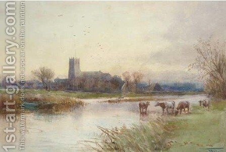 Christchurch view by Henry Charles Fox - Reproduction Oil Painting