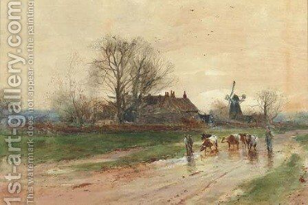 Droving cattle on a rural path by Henry Charles Fox - Reproduction Oil Painting