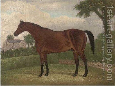 A bay hunter in a landscape, a house beyond by Henry Clowes - Reproduction Oil Painting