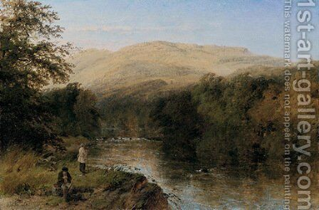Fishing in a Mountainous Landscape by Henry Thomas Dawson - Reproduction Oil Painting