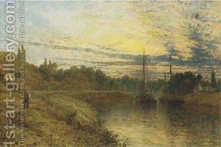 On the Severn by Henry Thomas Dawson - Reproduction Oil Painting