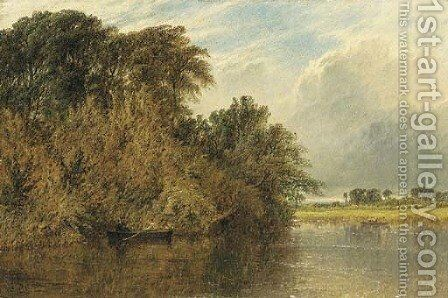 The River Trent, with men rowing in boats by Henry Thomas Dawson - Reproduction Oil Painting