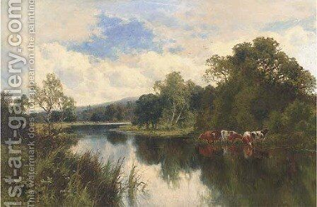 Cattle watering on a summer's day by Henry Hillier Parker - Reproduction Oil Painting
