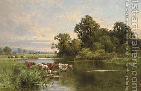 Evening on the banks of the Ouse by Henry Hillier Parker - Reproduction Oil Painting