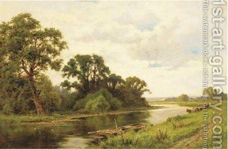 The river Lea, Broxbourne by Henry Hillier Parker - Reproduction Oil Painting