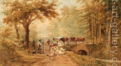 A shepherd driving cattle and sheep over a bridge in a wooded landscape by Henry Earp - Reproduction Oil Painting