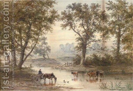 Watering at dusk by Henry Earp - Reproduction Oil Painting