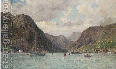 Fishing boats lying on their moorings in a Norwegian fjord by Henry Enfield - Reproduction Oil Painting