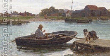 Walberswick Ferry, Suffolk by Henry Garland - Reproduction Oil Painting