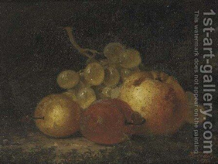 A pear, a plum and a bunch of grapes by Henry George Todd - Reproduction Oil Painting