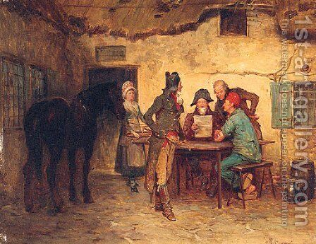 Gathering In The Courtyard by Henry Gillard Glindoni - Reproduction Oil Painting