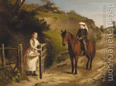 A wayside conversation by Henry Grant - Reproduction Oil Painting
