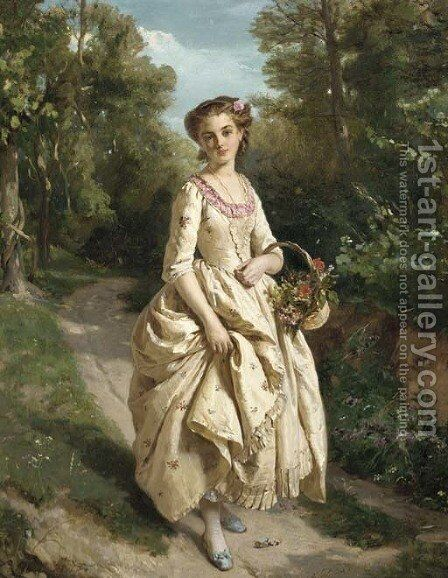 An Afternoon Stroll by Henri Guillaume Schlesinger - Reproduction Oil Painting