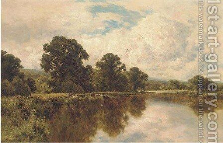 Sleeping waters on the Thames, near Pangbourne by Henry Hillier Parker - Reproduction Oil Painting
