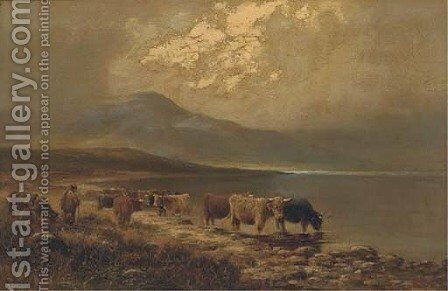 By the shores of Loch Goil, Inverness-shire by Henry Hadfield Cubley - Reproduction Oil Painting