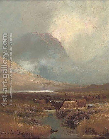 Cattle watering in a highland landscape by Henry Hadfield Cubley - Reproduction Oil Painting