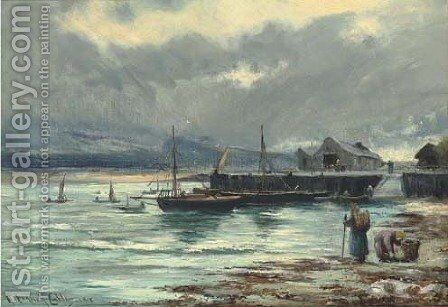 The harbour Barmouth, North Wales by Henry Hadfield Cubley - Reproduction Oil Painting