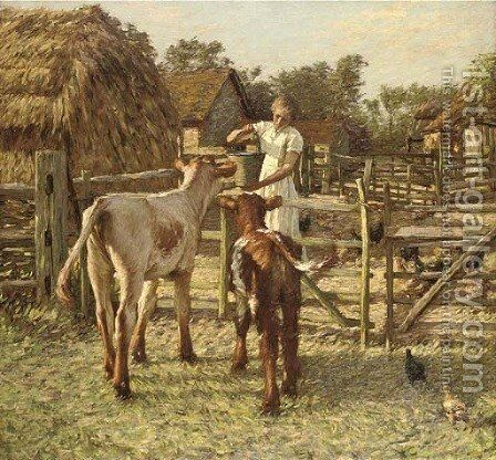 A Sussex farm 2 by Henry Herbert La Thangue - Reproduction Oil Painting