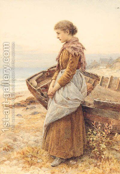 Waiting by the Shore by Henry James Johnstone - Reproduction Oil Painting