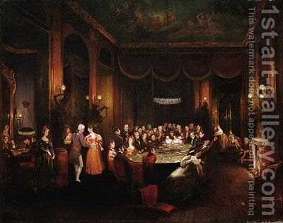 Figures playing baccarat in a gaming room by Henry James Pidding - Reproduction Oil Painting