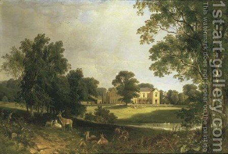 A view of Norton Hall, Northamptonshire, from the South East, with deer in the foreground by Henry John Boddington - Reproduction Oil Painting