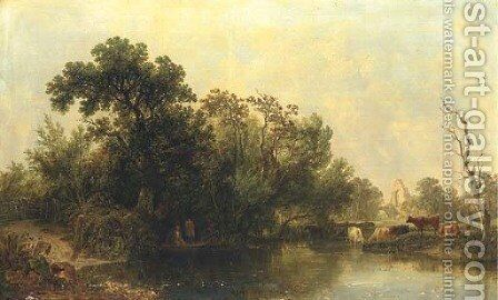 Anglers fishing beside a ruined Abbey by Henry John Boddington - Reproduction Oil Painting